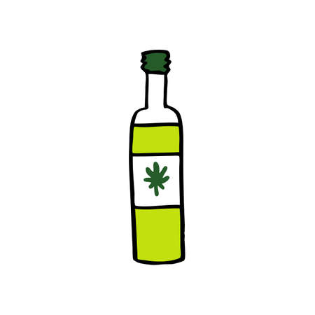 bottle with hemp oil doodle icon, vector color illustration