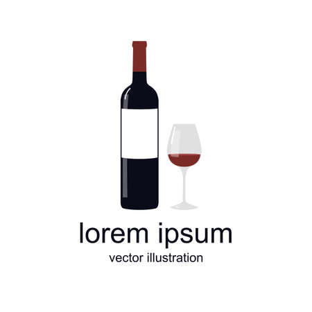 wine icon, vector color illustration