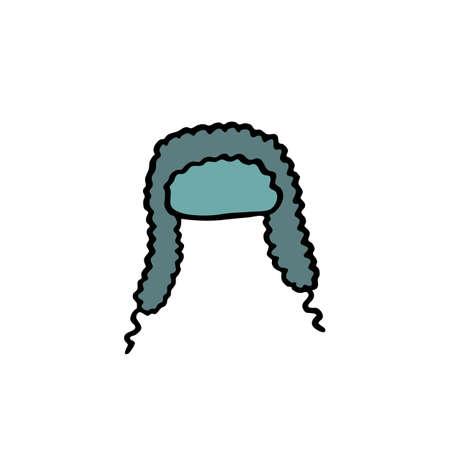 ear-flap doodle icon, vector color illustration