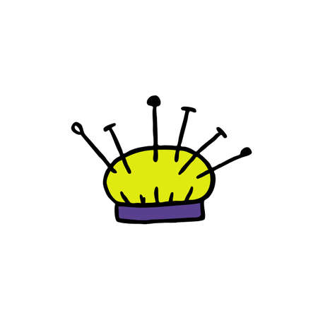 pincushion doodle icon, vector color illustration