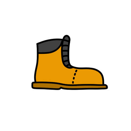 safety boots doodle icon, vector color illustration