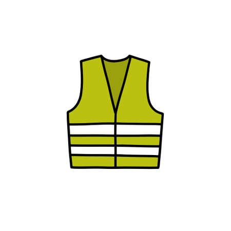 reflex vest doodle icon, vector color illustration