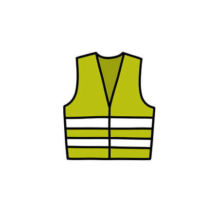 reflex vest doodle icon, vector color illustration