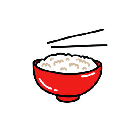 rice with chopsticks doodle icon, vector color illustration Vetores