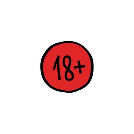 age restriction sign 18 plus doodle icon, vector color illustration