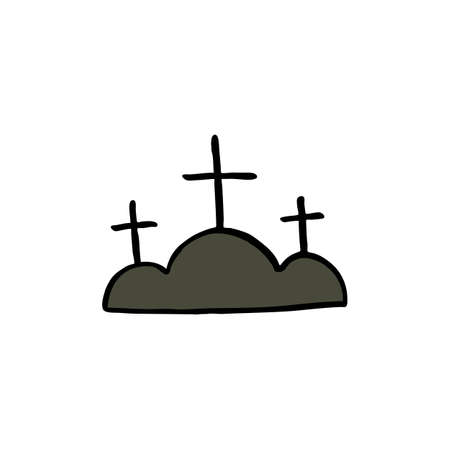 Calvary doodle icon, vector color illustration 일러스트