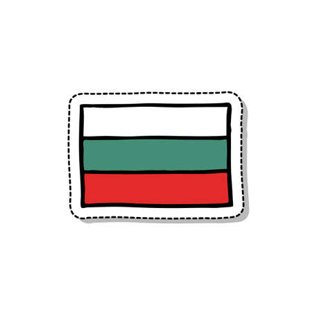flag of Bulgaria doodle icon, vector color illustration