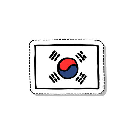 Flag of South Korea doodle icon, vector color illustration