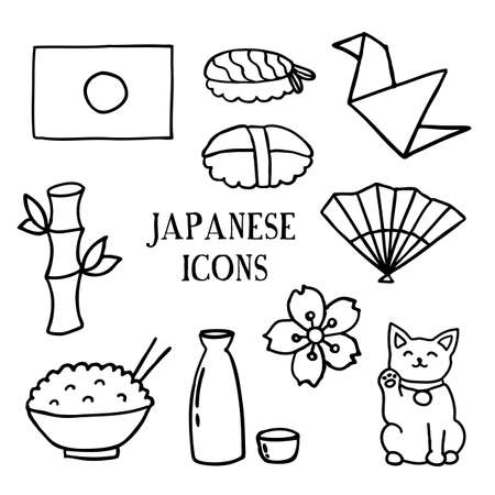 japanese doodle icons, vector color illustration
