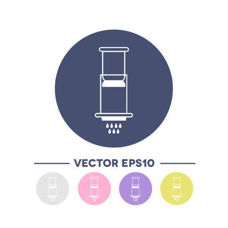 alternative coffee maker icon. device for brewing coffee, vector color illustration