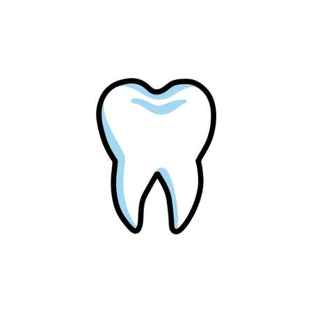 tooth doodle icon, vector color illustration
