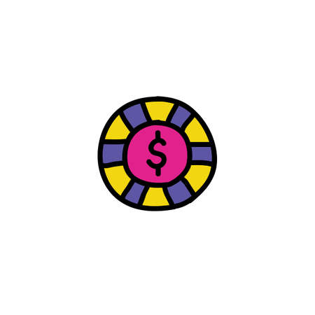 casino chip doodle icon, vector illustration