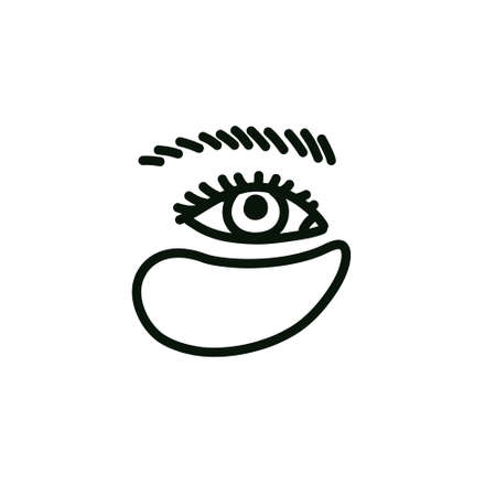 eye beauty patches doodle icon, vector line illusration