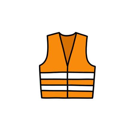 reflex vest doodle icon, vector illustration