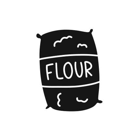bag of flour doodle icon, vector illustration