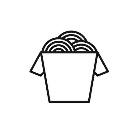wok noodles box line icon, vector illustration
