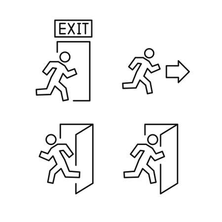 exit line icons set, vector illustration