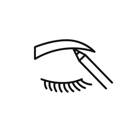 eyebrow contour correction line icon, vector illustration
