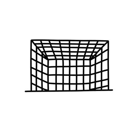 soccer goal doodle icon, vector illustration
