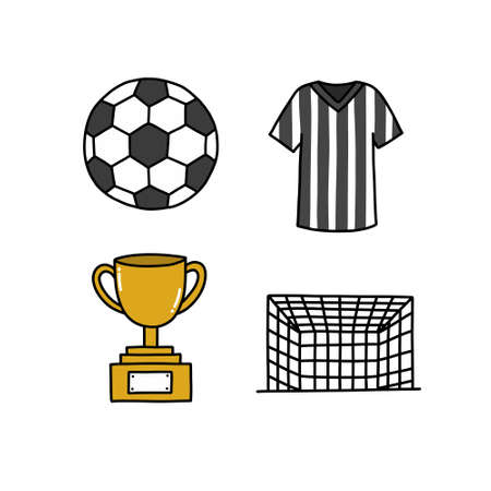 soccer doodle icons set, vector illustration Ilustracja