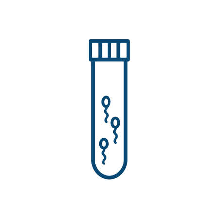 sperm test tube line icon, vector illustration Stock Illustratie