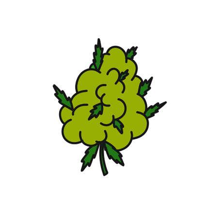 marijuana bud doodle icon, vector illustration