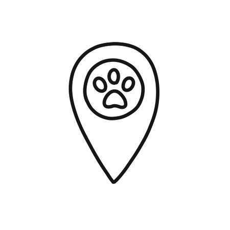 map pointer pet shop doodle icon, vector illustration