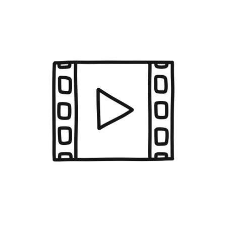 multimedia doodle icon, vector illustration