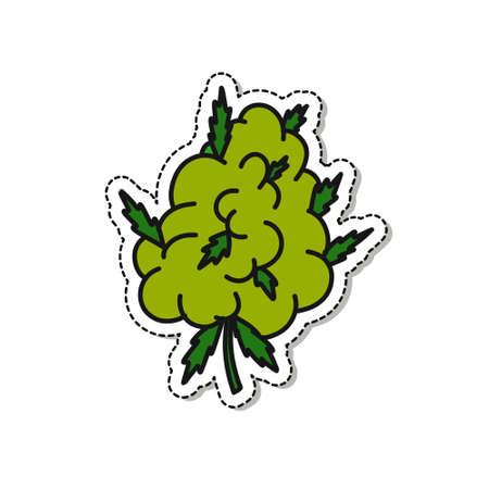 marijuana bud doodle icon sticker, vector illustration
