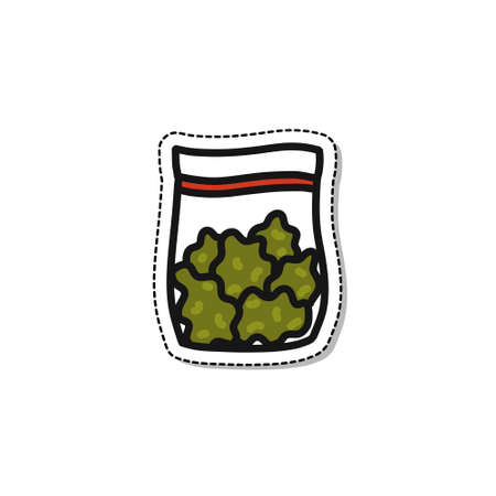marijuana bag doodle icon sticker, vector illustration Banco de Imagens - 150561879
