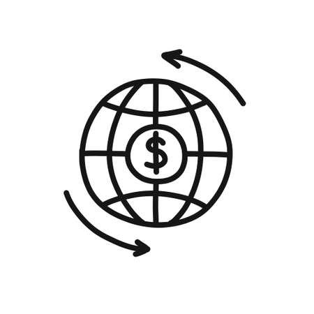 money world cycle, international banking doodle icon, vector illustration