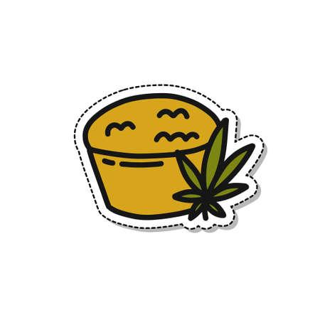 marijuana cake doodle icon sticker, vector illustration