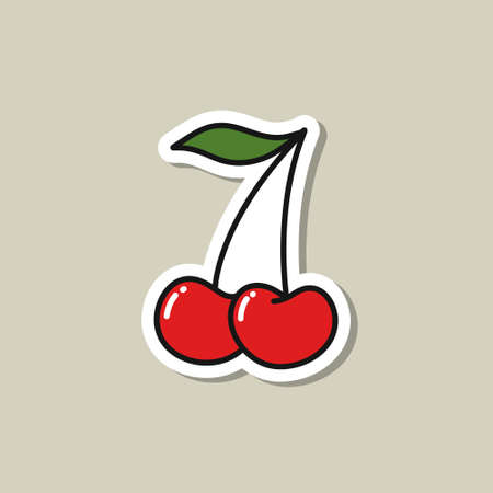 cherry doodle icon sticker, vector illustration