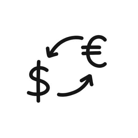 money conversion doodle icon, vector illustration Çizim