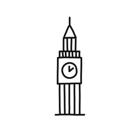 tower of London doodle icon, vector illustration