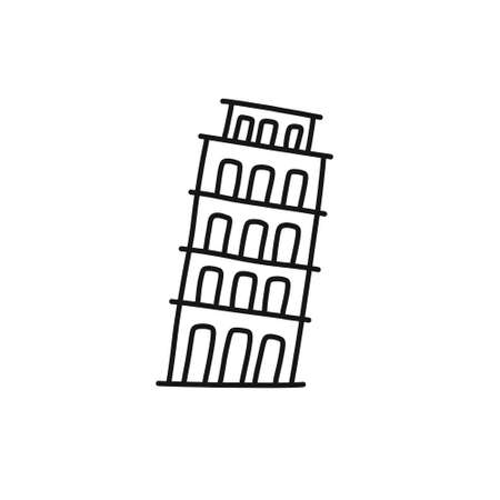 tower of pisa doodle icon, vector illustration