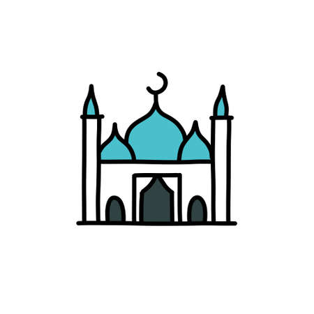 Mosque doodle icon, vector illustration