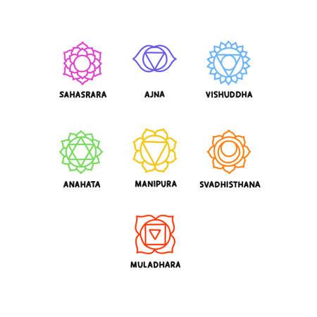chakra doodle icons set, vector illustration Çizim