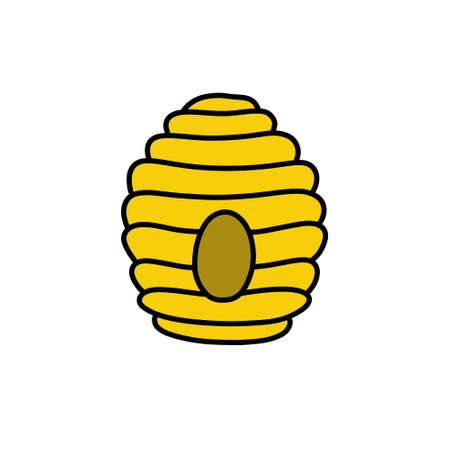 bee hive doodle icon, vector illustration