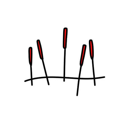 acupuncture needles doodle icon, vector illustration