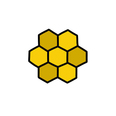 honeycomb doodle icon, vector illustration