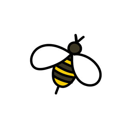 bee doodle icon, vector illustration