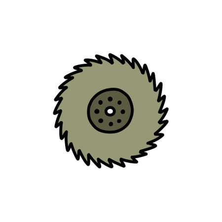 circular saw doodle icon, vector illustration