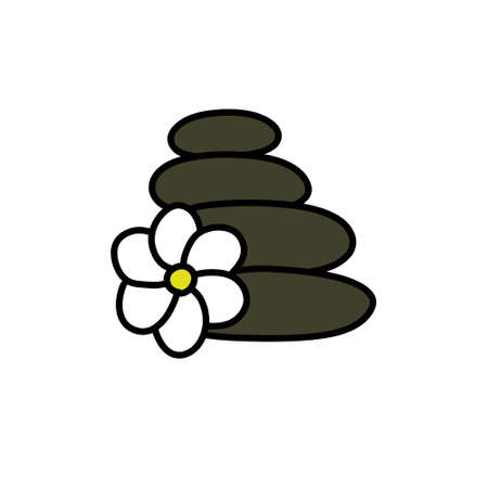 stones for massage doodle icon, vector illustration