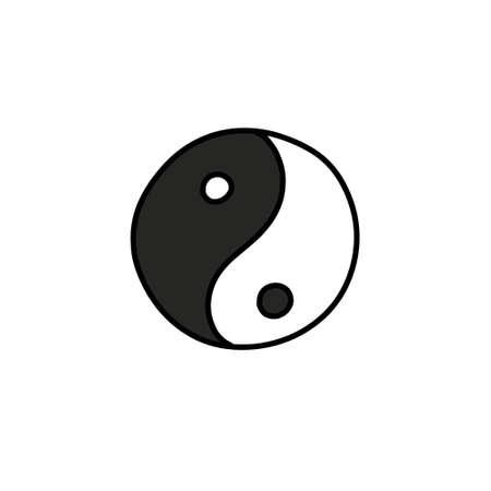 yin yang symbol doodle icon, vector illustration