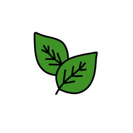 green leaves doodle icon, vector illustration Çizim