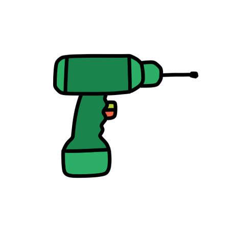 hammer drill doodle icon, vector illustration Çizim