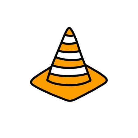 road cone doodle icon, vector illustration Çizim