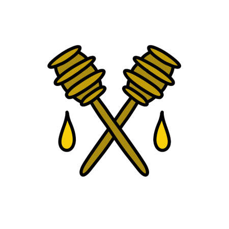 honey spoon doodle icon, vector illustration