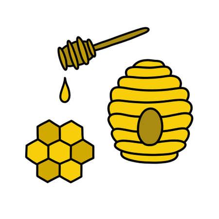 honey doodle icons set, vector illustration